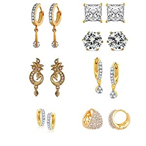 Zeneme White American Diamond Combo Of 7 Hoop Earrings For Women