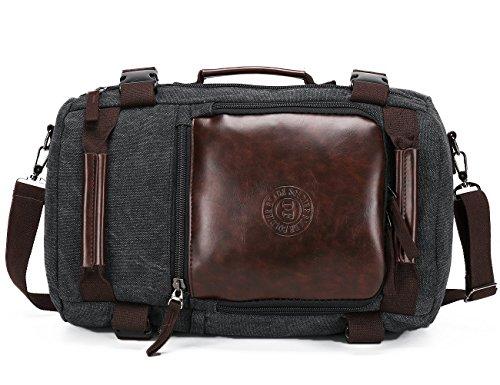 SHTH Vintage Canvas Rucksäcke 3 Wege Carry Laptop Umhängetasche für Herren Damen Wandern Outdoor Rucksack mit große Kapazität, 43x28x18 CM, 35 Liter (Schwarz)
