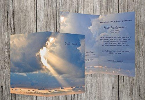 trauerkarten-druck Danksagung Trauer | Danksagung Trauer Himmel | 10 Karten | mit Individualisierung & Umschlägen | in MitternachtsBlau