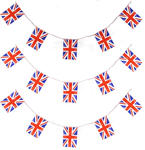 ILOVEFANCYDRESS 33FT UNION JACK 20 FLAGS 10 METERS FLAG BUNTING PARTY DECORATION ALL WEATHER BUNTING ROYAL UNITED KINGDOM BRITAIN EVENT BANNER …