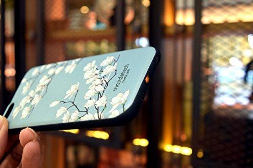 Custodia per iPhone 6s Plus & iPhone 6Plus case, Mondetechtm retro floreale bianco magnolia fiore morbido silicone TPU 3D sollievo pittura custodia protettiva per iPhone 6s Plus e iPhon