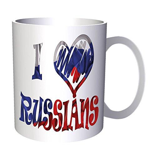 Amo la bandera rusa de Rusia 330 ml taza u310