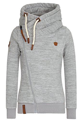 Damen Kapuzenjacke Naketano Dreisisch Euro Swansisch Minut Zip Hoodi XS Grey Melange (Fleece Jacke Hoody Zip)