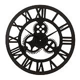 LIVIVO im Traditionellen Vintage-Stil Schwarz Metall Eisen Wanduhr mit römischen Ziffern und Uhrwerk Design–Stilvolle und Elegante 40cm Offener Rücken Skelett Metall Rahmen–mit Jeden Decor