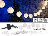 Lunartec Solar Lampionkette: Solar-LED-Lichterkette, warmweiß, mit 20 weißen Lampions, 3,8 m, IP44 (Solar Lampionkette außen)