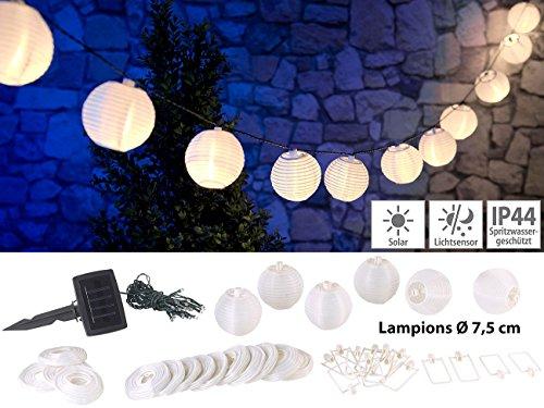 Lunartec Solar Lampionkette: Solar-LED-Lichterkette, warmweiß, mit 20 weißen Lampions, 3,8 m, IP44 (Solar Lampionkette außen) (Akzente Led-weihnachtsbeleuchtung Home)