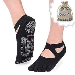 Ozaiic Yoga Socken für Damen Full Toe Rutschfeste Socken für Pilates, Barre, Ballett, Tanz
