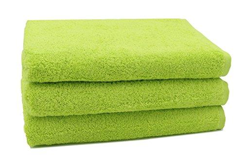 ZOLLNER 3er Set Duschtuch Baumwolle, 70x140 cm, grün (weitere verfügbar)