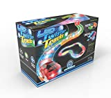Mindscope LED Laser Twister Tracks 12 Feet of Light Up Flexible Track + 1 Light Up Race Car Each Individual Track Piece Contains Lights (Standard Color System)