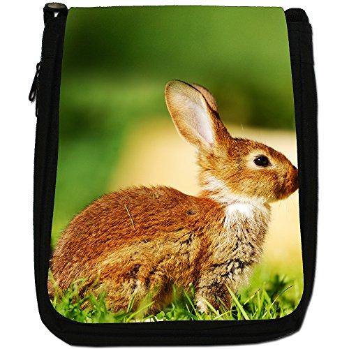 Peluche conigli-Borsa a tracolla in tela, colore: nero, taglia: M Nero (Brown Rabbit Sitting On Grass)