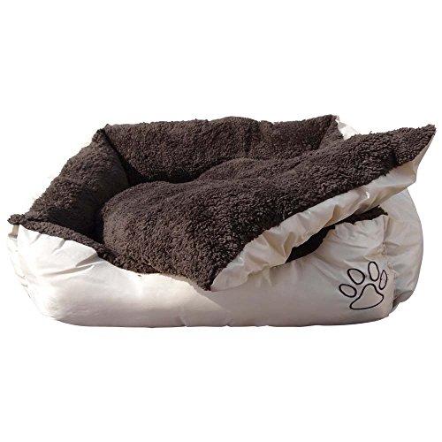 Waschbares Flauschi Tierbett mit Kuscheleinlage für Hund, Katze & Haustier, Größe XL in 90 x 70 x 20cm, innen braun, außen beige inkl. Fressnapf - 2