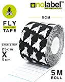 Black Fly Tape Pre Cut Kinesiology Tape - Pre-Cut Sport Tapes Strapping For Muscle Sports Support | Pro 5m Medical Roll No Label H20 20 x Precut Waterproof Athletic Physio Muscles Strips | FREE PDF Ebook Taping Guide