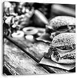 Monocrome, Leckere Burger, Format: 70x70 auf Leinwand, XXL riesige Bilder fertig gerahmt mit Keilrahmen, Kunstdruck auf Wandbild mit Rahmen, günstiger als Gemälde oder Ölbild, kein Poster oder Plakat
