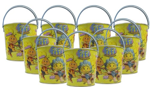 9x Seaside Metal Beach Bucket Cartoon Character Fifi And The Flowertots Size 110mm x 120mm