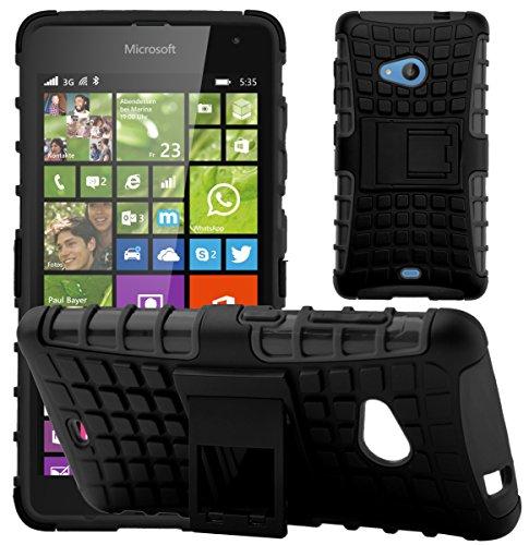 G-Shield Hülle für Microsoft Lumia 535 Stoßfest Schutzhülle mit Ständer - Schwarz