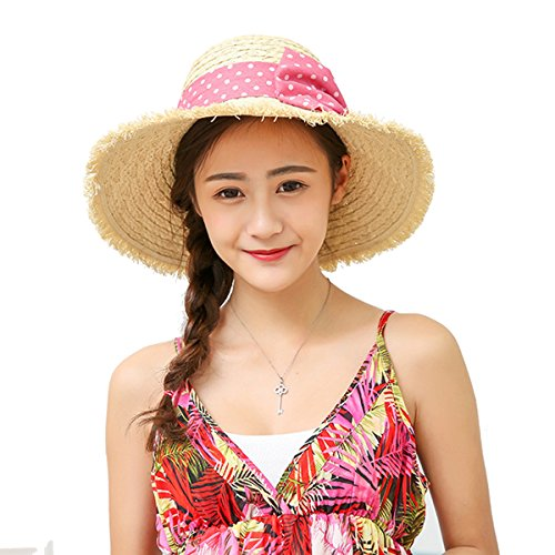 Butterme Damen Raffia Straw Hat klappbare Kappe flexible Sommer Strand Sonne Hüte With Point Bowkot Band (Beige) (Hut Raffia Damen)