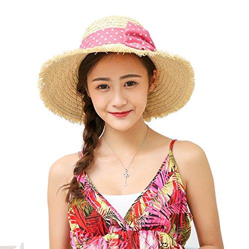 Butterme Damen Raffia Straw Hat klappbare Kappe flexible Sommer Strand Sonne Hüte With Point Bowkot Band (Beige) (Raffia Hut Damen)