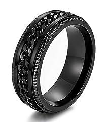 Idea Regalo - Sailimue 8mm Anelli in acciaio inox per uomini catena anelli Biker scanalato Edge, Size54-70