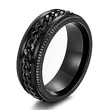 sailimue 8mm Edelstahl Männer Ringe für Herren Kettenringe Motorradfahrer Grooved Edge Schwarz Größen60(19.1)