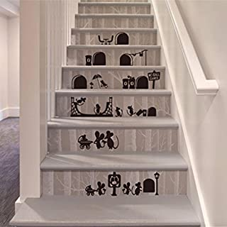 erthome Cartoon Mice Floor Stairs Stickers Decorative Creative Removable Wall Stickers (Black)