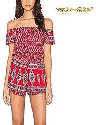 BYD Mujeres Monos sin Tirantes Verano Bohemia Coloridos Impresión Floral Camisetas Playa Falda Pantalon Corto