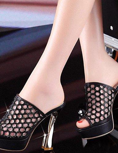 UWSZZ IL Sandali eleganti comfort Scarpe Donna-Sandali-Formale / Casual / Serata e festa-Spuntate / Pantofole-Quadrato-Sintetico / Tulle-Nero / Dorato Black