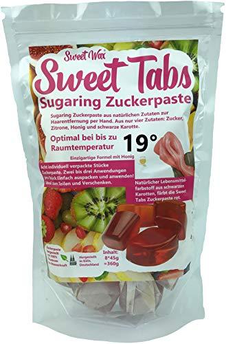 Sweet Tabs 19° Rot Brazilian Wax. Einfach auspacken, kneten und anwenden. Enthaarungswachs aus Sugaring Zuckerpaste zur Haarentfernung per Hand. Keine Vliesstreifen oder Erwärmen nötig. 8 * 45g =360g