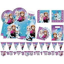 PROCOS Conjunto para Fiesta 10110970B, de Disney, diseño de Frozen Northern Lights, tamaño XL, 52Piezas