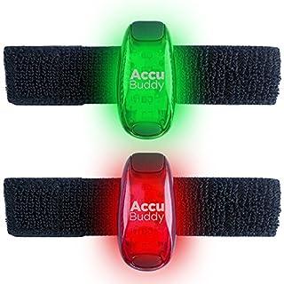 AccuBuddy LED Safety Light Bonus Set–LED Clip Light with Permanent and Flashing Light Perfect as a Jogging Light and Bright Running Light, Rot + Grün 2er Set