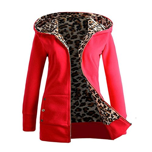 Trada Damen Wintermantel, 1 STÜCK Frauen Plus SAMT Verdickt Kapuzenpullover Leopard Zipper Coat Strickjacke Outwear Hoodie Baumwolle Trenchcoat Mantel Winter Warm Coat (S, Rot) -