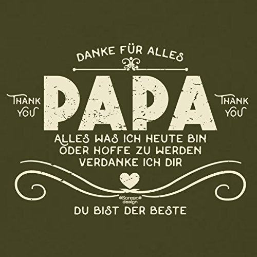 Herren kurzarm Motiv T-Shirt als Vatertagsgeschenk Geburtstagsgeschenk :-: Danke Papa :-: Geschenkidee für Männer Geburtstag Weihnachten Vatertag :-: Farbe: khaki Khaki