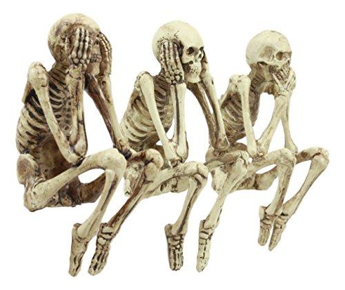 Ebros Skurril See No Evil Hear No Evil Speak No Evil Skelette Kantenhocker Figuren 9,5cm Hoch