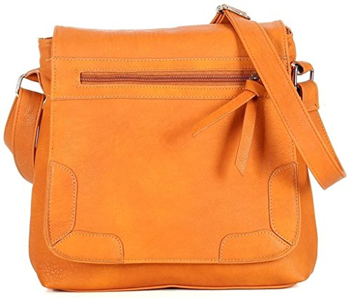 Kukubird Zipper Bow Design Travel Tote Messenger Crossbody Kunstleder Designer-Tasche Orange