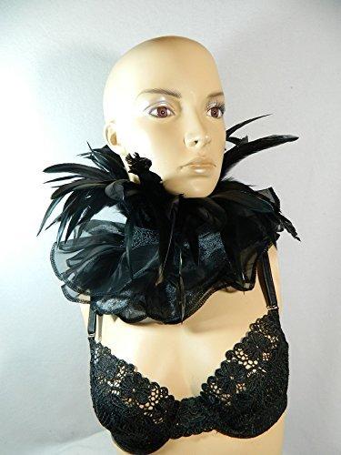 Federkragen opulent Halskrause schwarz Kragen Clown Harlekin Pierrot Verkleidung Kostüm Halsband (Kostüm Gothic Raben)