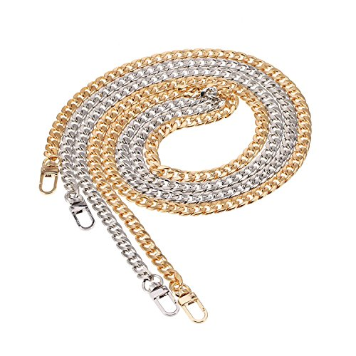 Set of 2 buckles for handbag or flat iron handbag, 47 inches, with shoulder strap, gold and silver color