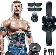 MATEHOM Electroestimulador Muscular Abdominales, Masajeador Eléctrico Cinturón con USB, Estimulación Muscular