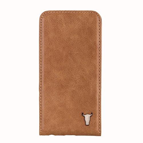 Étui de TORRO à l'ouverture verticale pour iPhone SE. Étui très mince (brun clair/tan, en cuir de vache véritable des Etats Unis de haute qualité) Pour iPhone 5 / 5S / SE Marron 'Tan'