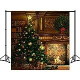 8X18ft Polyester Weihnachten Foto Backdrop Beleuchtung Baum BücherregalFeuer Kulisse Trojaner Pferd Fotografie Hintergrund für Kinder Studio Requisiten