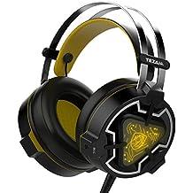 Tezam Gaming Headset, USB Estéreo Cascos Gaming Auriculares de Juego de Para PC con Micrófono Control de Volumen Luz LED Para PC, PS4, XBOX 360,MAC y Móvi, Amarillo y negro