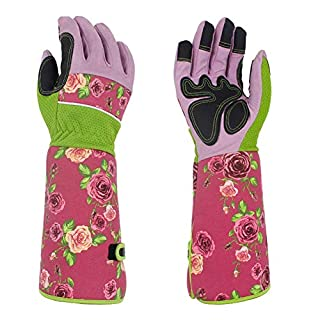 QEES Long Gardening Gloves Thorn Proof 37CM to Protect Your Arms Until The Elbow (Pink)