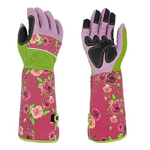 Homeng Damen Rosen-Handschuhe, Gartenhandschuhe, Dornschutz, mit Langen Leinenärmeln für Blumen, Rosa
