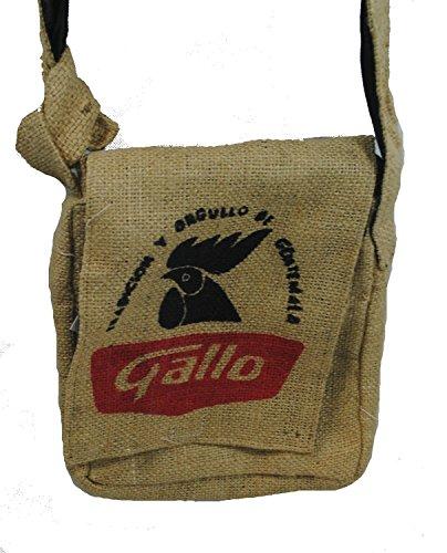 Fair Trade guatemaltekischen hessischen Jute Kaffee Schultertasche N37s Natural - Gallo Hähnchen