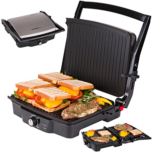 TZS First Austria - elektrischer Kontaktgrill Tischgrill Sandwichtoaster 180° Öffnungswinkel | Temperatureinstellung | Thermostat | Sandwich elektro Grill | Backampel | 2000 W Panini-Maker Multigrill