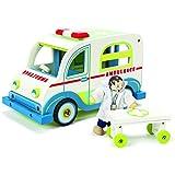 Le Toy Van : ambulancia de juguete de madera con un médico juguete