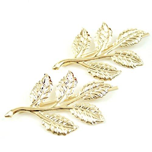 rougecaramel - Accessoires cheveux - Mini pince forme feuille lot de 2pcs - doré