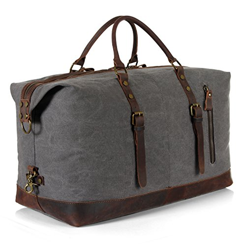 Lifewit Oversized Unisex Holdall Weekend Travel Duffel Bag Canvas Leather Overnight Tote Shoulder Carry on Gym Bag