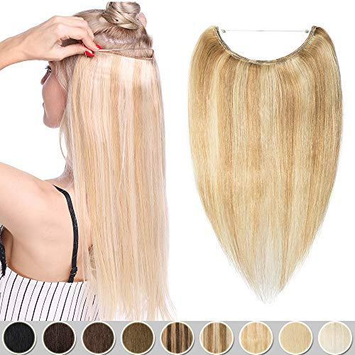 Extension con filo invisibile capelli veri fascia unica 100% remy human hair 18p613 biondo cenere & biondo sbiancante 40cm 60g