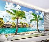 Fototapete 3D Effekt Tapete Malediven, Hawaii Meerblick Kokosnussbaum Landschaftlichen Vliestapete 3D Wallpaper Moderne Wanddeko Wandbilder
