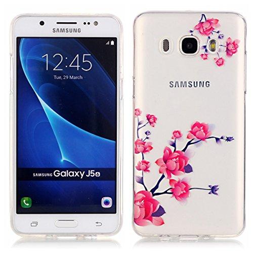 Coque TPU pour Samsung Galaxy J5,Galaxy J5 (2016) Silicone Gel Etui,Ekakashop Samsung Galaxy J5 (2016) Ultra Mince Transparente Souple Soft Silicone Arrière Flexible Gel Swag Bumper Cas Coque de Prote Fleur