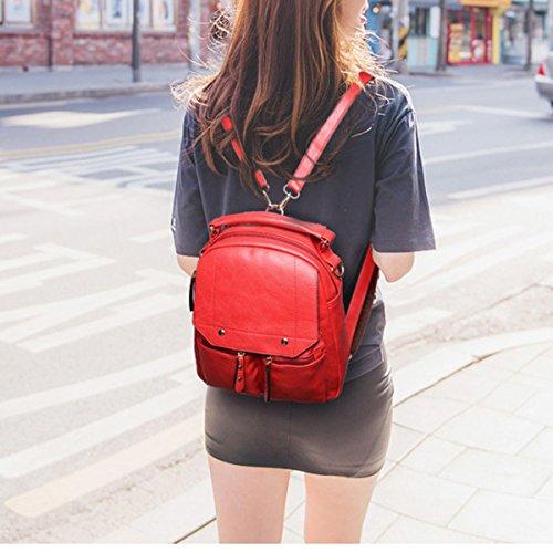 Sacchetto Di Viaggio Di Viaggio Della Spalla Dello Zaino Dello Zaino Di Modo Dell'unità Di Elaborazione Di Modo Dell'unità Di Elaborazione Per Le Donne Delle Ragazze Multicolori Red